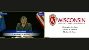 Ambassador Stavros Lambrinidis recognizing the UW–Madison team at The Schuman Challenge 2020 award ceremony. 2020