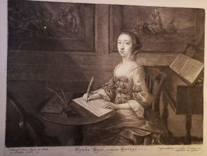 Frontispiece portrait of Elisabetta de Gambarini from Lessons for the Harpsichord Intermix'd with Italian and English Songs, op. 2 (London, 1748), engraved by Nathaniel Hone.